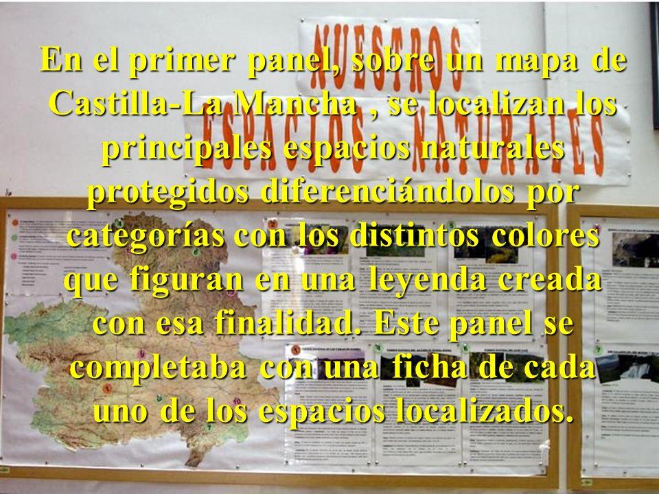 En el primer panel, sobre un mapa de Castilla-La Mancha , se localizan los principales espacios naturales protegidos diferenciándolos por categorías con los distintos colores que figuran en una leyenda creada con esa finalidad.