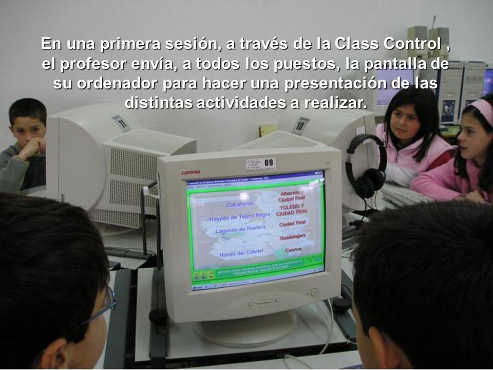 En una primera sesión, a través de la Class Control , el profesor envía, a todos los puestos, la pantalla de su ordenador para hacer una presentación de las distintas actividades a realizar.