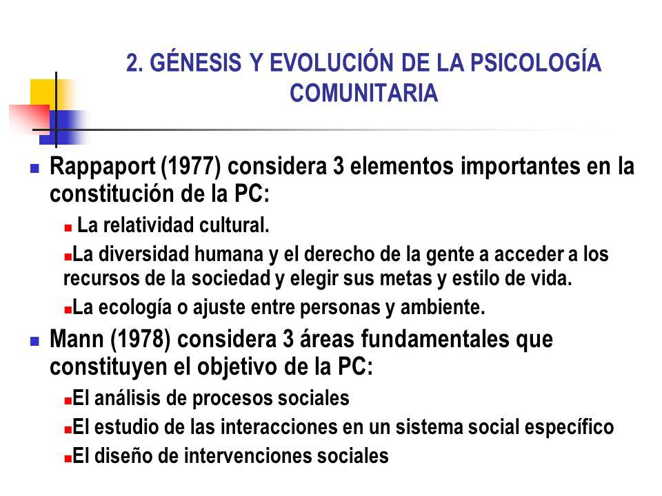 2. GÉNESIS Y EVOLUCIÓN DE LA PSICOLOGÍA COMUNITARIA