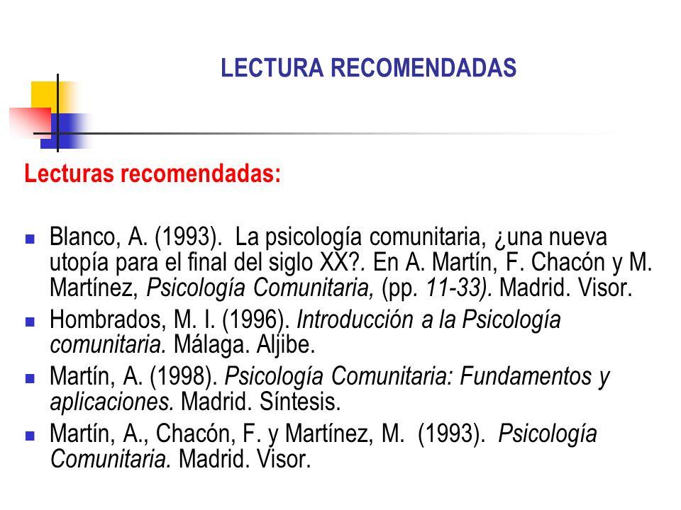 LECTURA RECOMENDADAS Lecturas recomendadas: