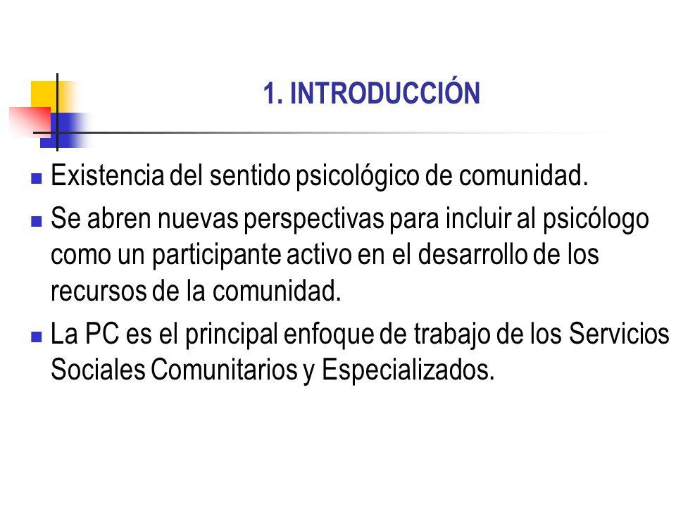 1. INTRODUCCIÓNExistencia del sentido psicológico de comunidad.