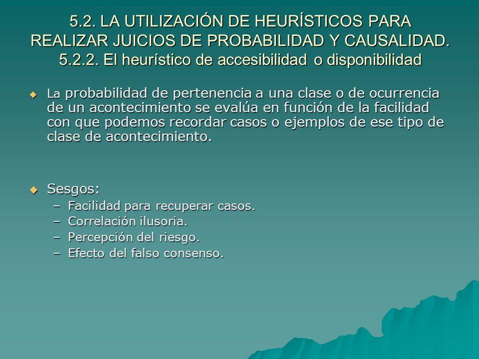5.2. LA UTILIZACIÓN DE HEURÍSTICOS PARA REALIZAR JUICIOS DE PROBABILIDAD Y CAUSALIDAD. 5.2.2. El heurístico de accesibilidad o disponibilidad