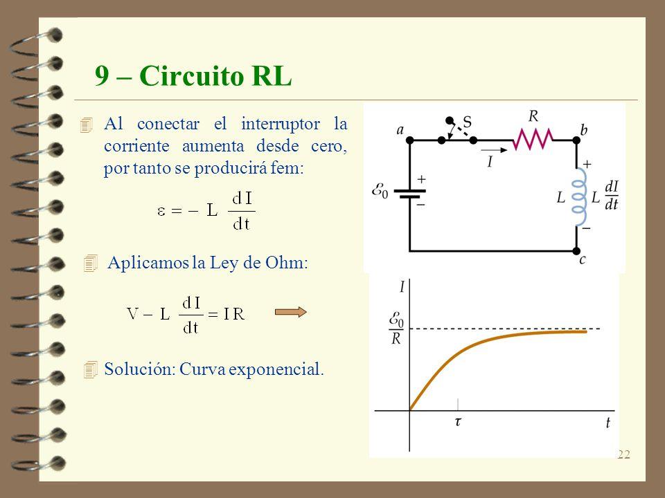 9 – Circuito RL Al conectar el interruptor la corriente aumenta desde cero, por tanto se producirá fem: