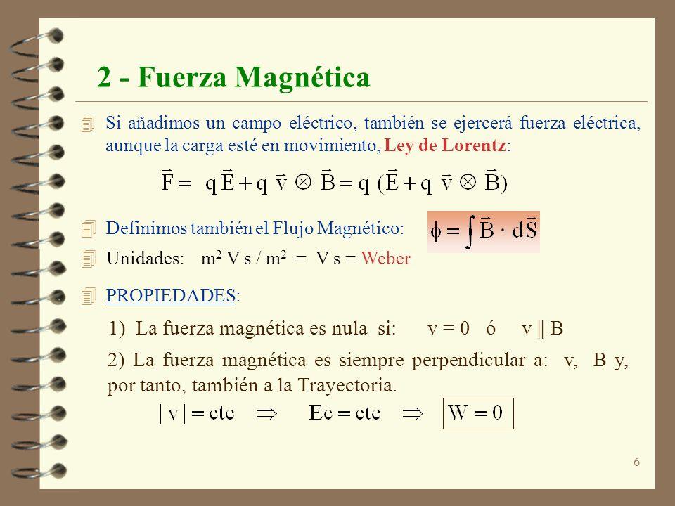 2 - Fuerza Magnética 1) La fuerza magnética es nula si: v = 0 ó v || B