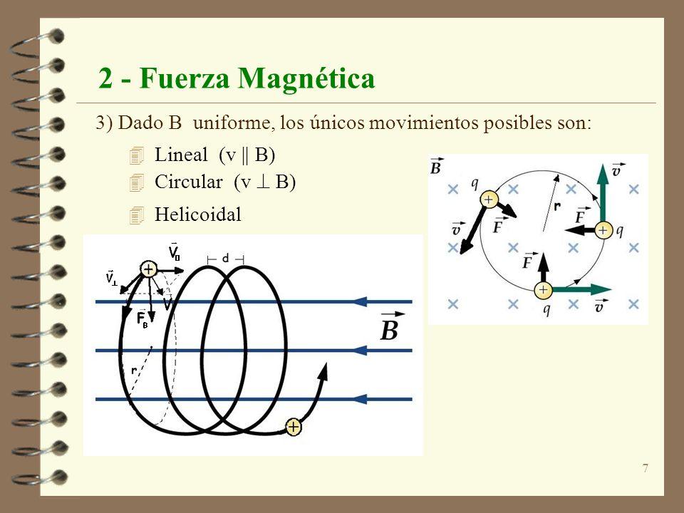 2 - Fuerza Magnética 3) Dado B uniforme, los únicos movimientos posibles son: Lineal (v || B) Circular (v  B)