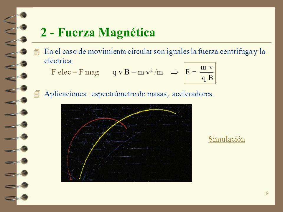 2 - Fuerza MagnéticaEn el caso de movimiento circular son iguales la fuerza centrifuga y la eléctrica: