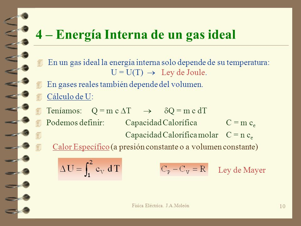 4 – Energía Interna de un gas ideal