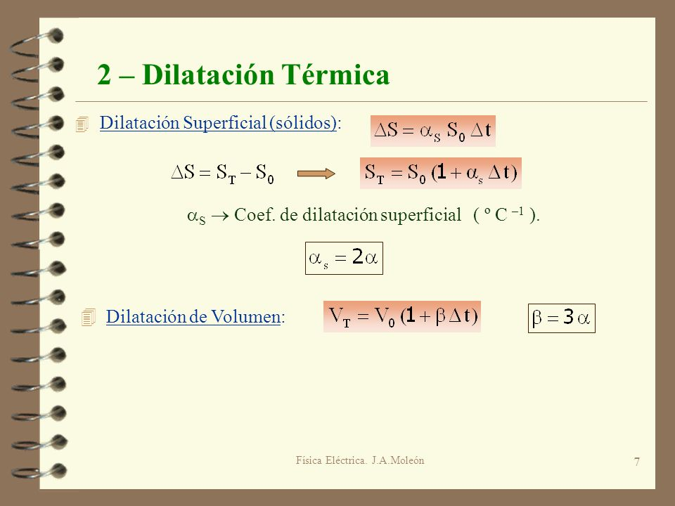 2 – Dilatación Térmica Dilatación Superficial (sólidos):