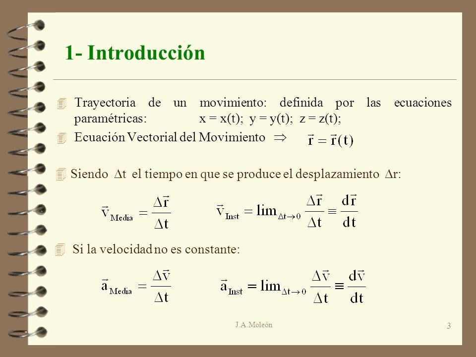 1- Introducción Trayectoria de un movimiento: definida por las ecuaciones paramétricas: x = x(t); y = y(t); z = z(t);