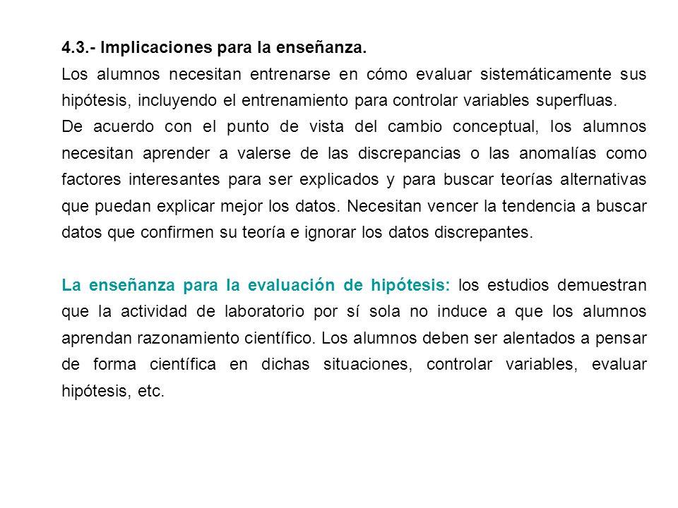 4.3.- Implicaciones para la enseñanza.