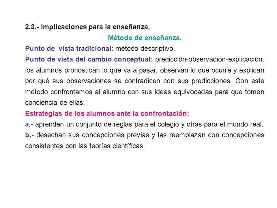 2.3.- Implicaciones para la enseñanza.