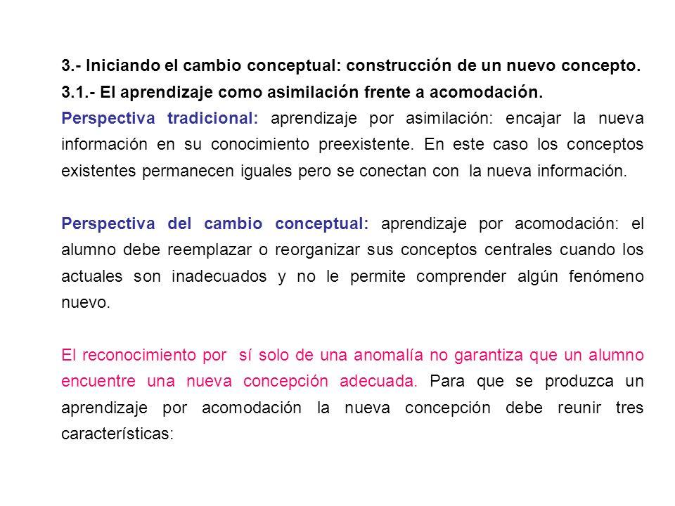 3.- Iniciando el cambio conceptual: construcción de un nuevo concepto.