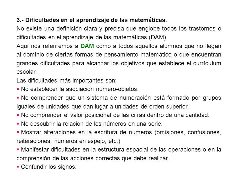 3.- Dificultades en el aprendizaje de las matemáticas.