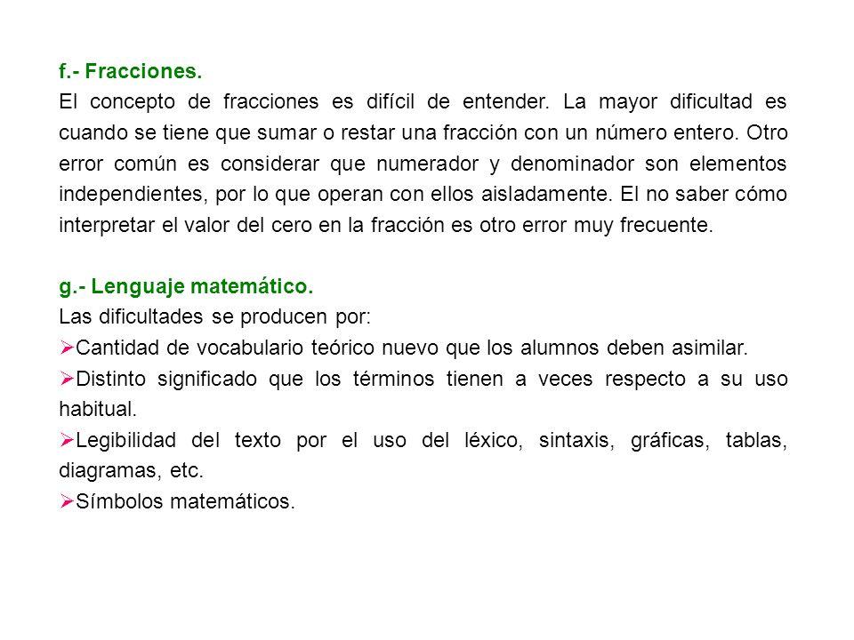 f.- Fracciones.