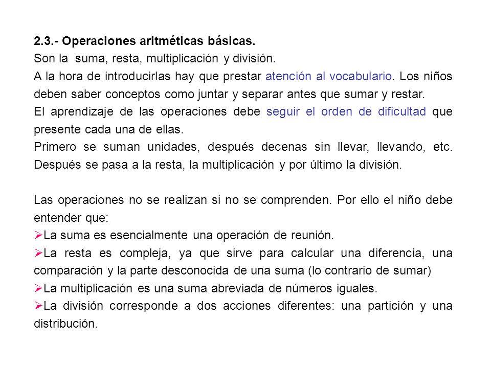 2.3.- Operaciones aritméticas básicas.
