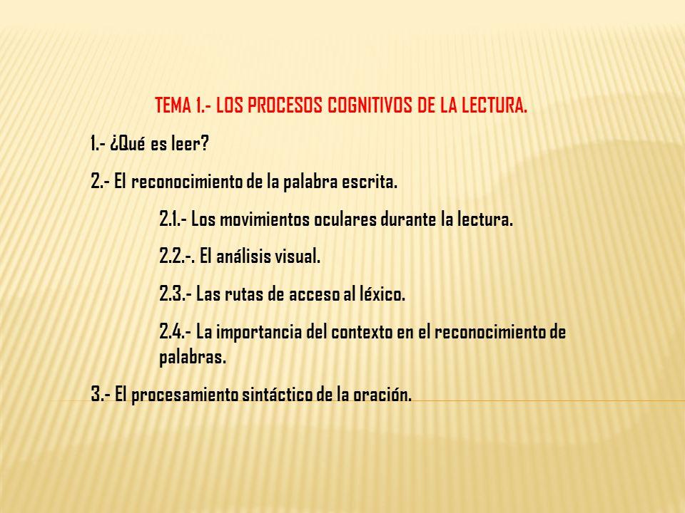 TEMA 1.- LOS PROCESOS COGNITIVOS DE LA LECTURA.