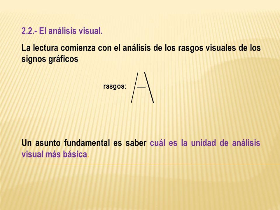 2.2.- El análisis visual.La lectura comienza con el análisis de los rasgos visuales de los signos gráficos.