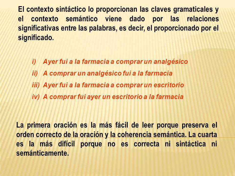 El contexto sintáctico lo proporcionan las claves gramaticales y el contexto semántico viene dado por las relaciones significativas entre las palabras, es decir, el proporcionado por el significado.
