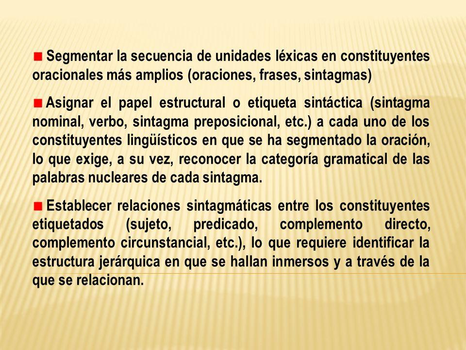 Segmentar la secuencia de unidades léxicas en constituyentes oracionales más amplios (oraciones, frases, sintagmas)