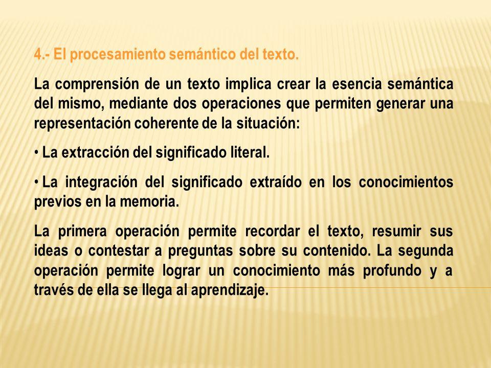 4.- El procesamiento semántico del texto.
