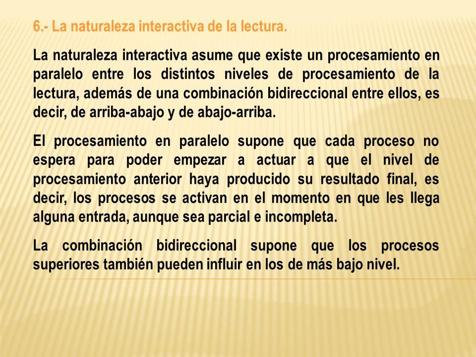 6.- La naturaleza interactiva de la lectura.