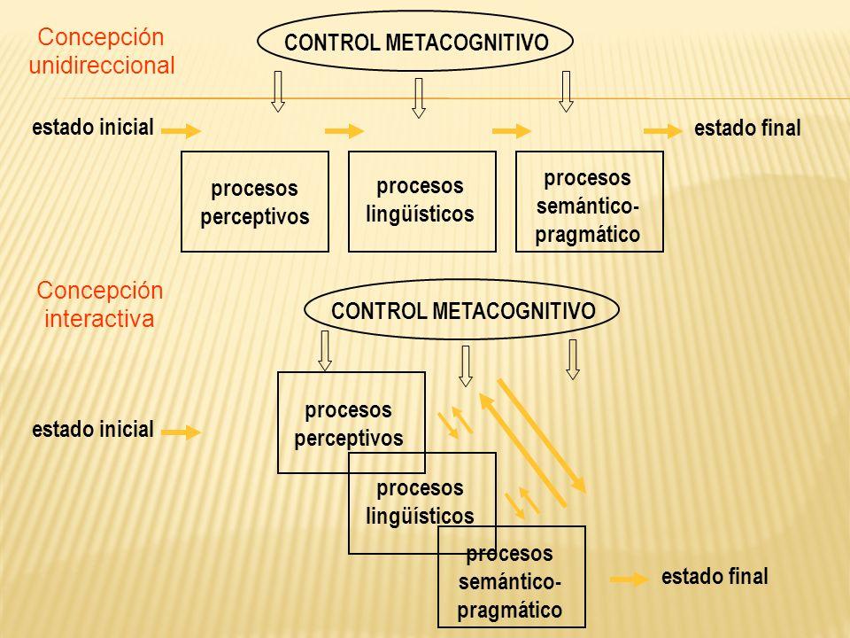 estado final procesos. semántico- pragmático. perceptivos. lingüísticos. CONTROL METACOGNITIVO.