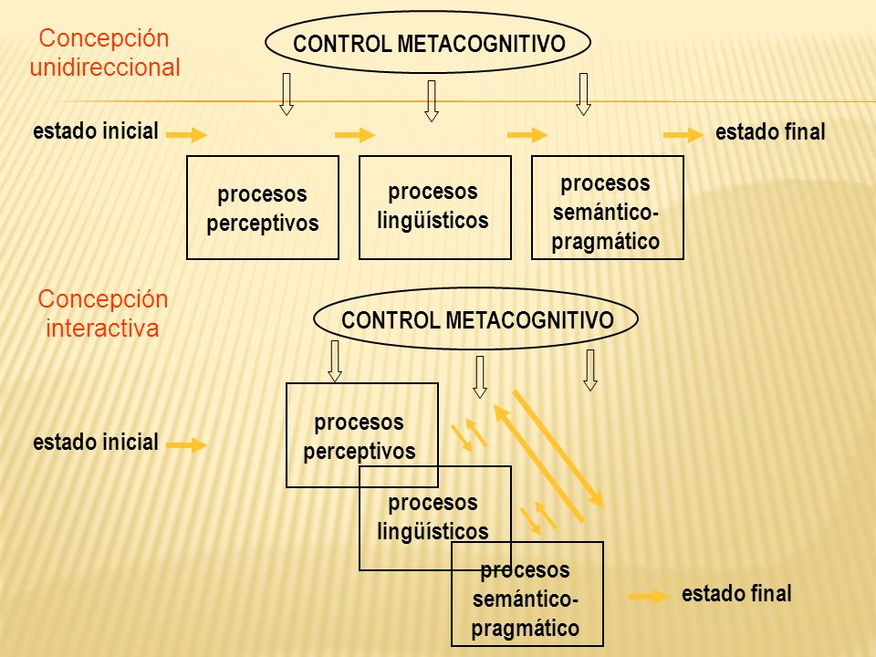 estado finalprocesos. semántico- pragmático. perceptivos. lingüísticos. CONTROL METACOGNITIVO. estado inicial.
