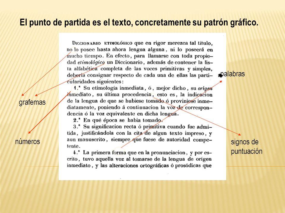 El punto de partida es el texto, concretamente su patrón gráfico.