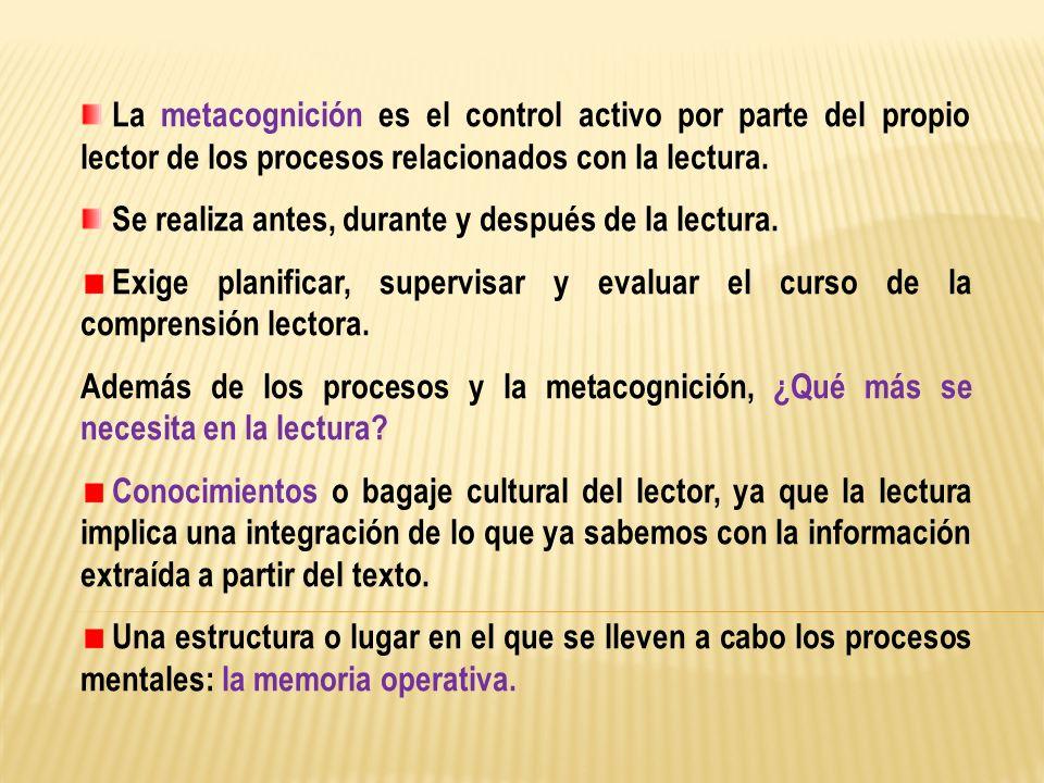 La metacognición es el control activo por parte del propio lector de los procesos relacionados con la lectura.