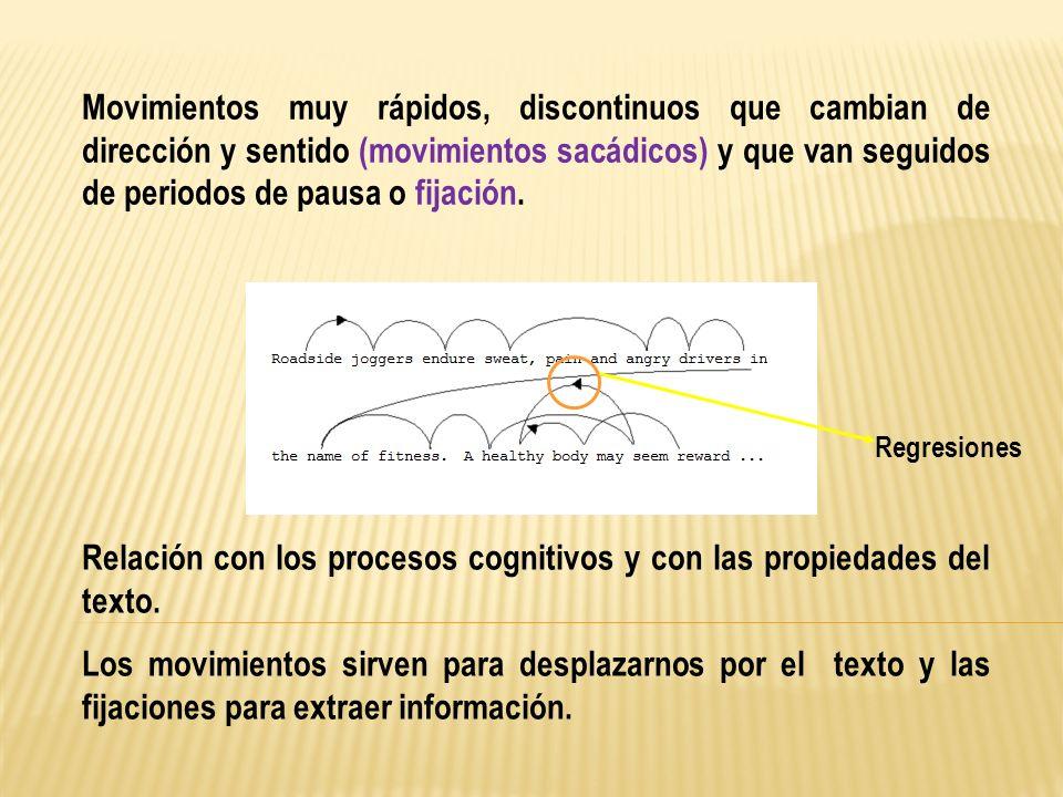 Relación con los procesos cognitivos y con las propiedades del texto.