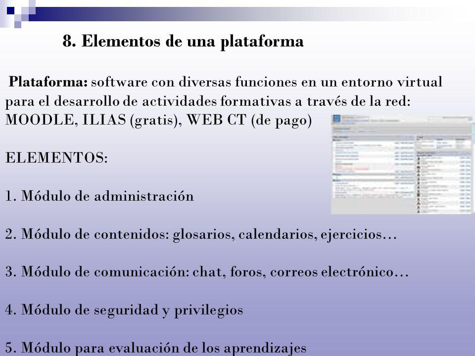 8. Elementos de una plataforma