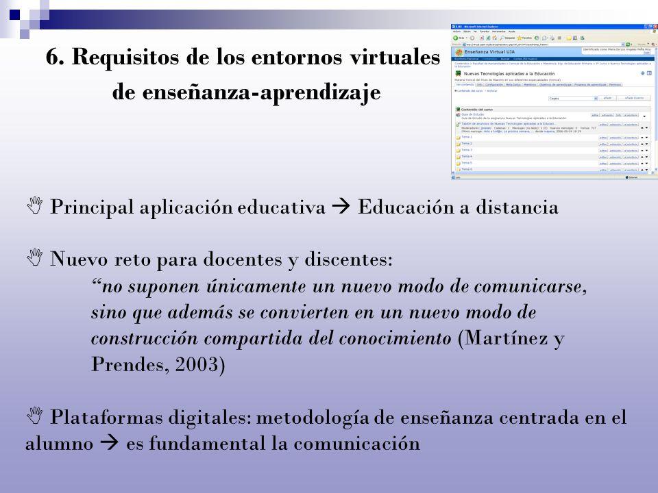 6. Requisitos de los entornos virtuales de enseñanza-aprendizaje