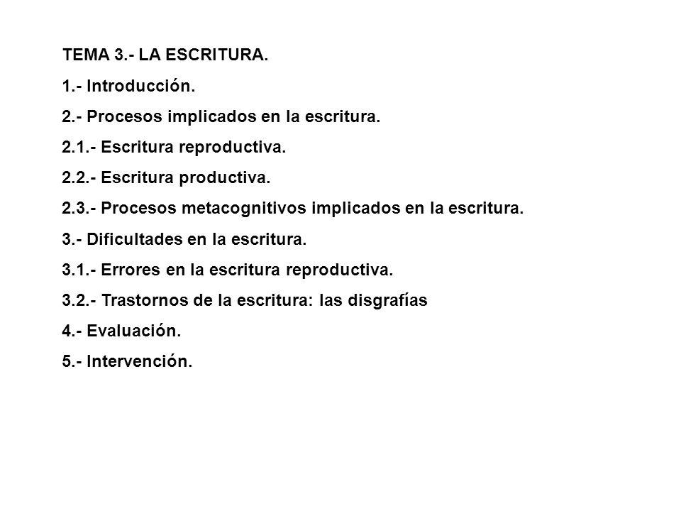 TEMA 3.- LA ESCRITURA. 1.- Introducción. 2.- Procesos implicados en la escritura. 2.1.- Escritura reproductiva.