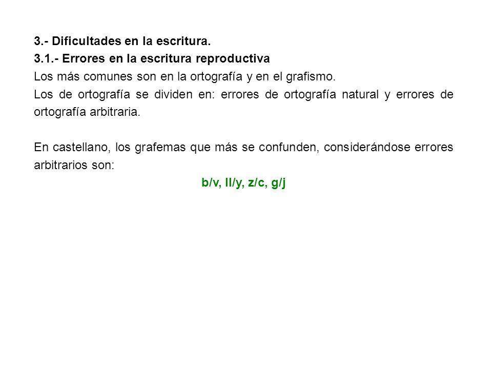 3.- Dificultades en la escritura.