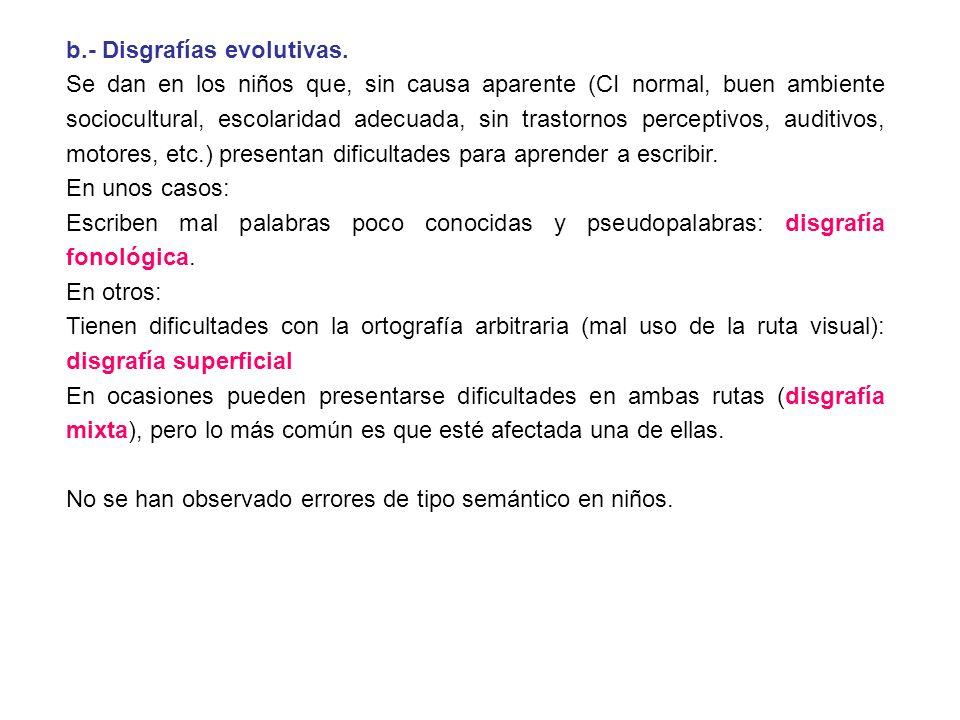 b.- Disgrafías evolutivas.