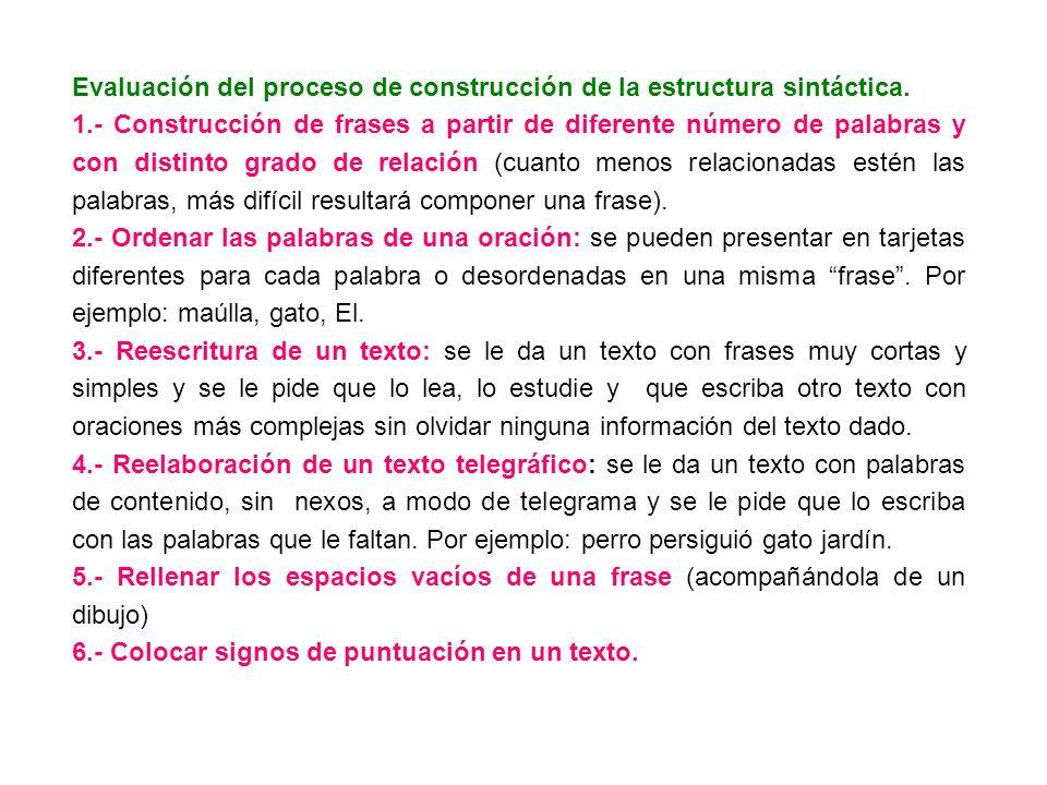 Evaluación del proceso de construcción de la estructura sintáctica.
