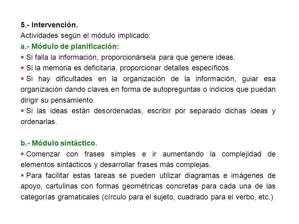 5.- Intervención. Actividades según el módulo implicado: a.- Módulo de planificación: