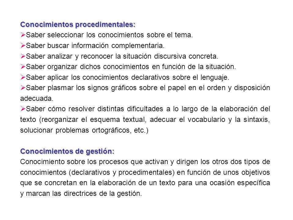 Conocimientos procedimentales: