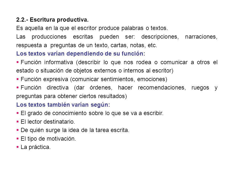 2.2.- Escritura productiva.