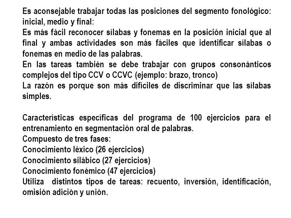 Es aconsejable trabajar todas las posiciones del segmento fonológico: inicial, medio y final: