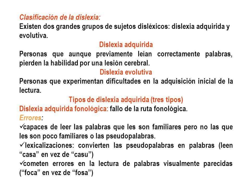 Tipos de dislexia adquirida (tres tipos)