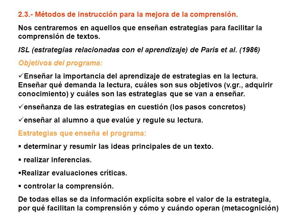 2.3.- Métodos de instrucción para la mejora de la comprensión.