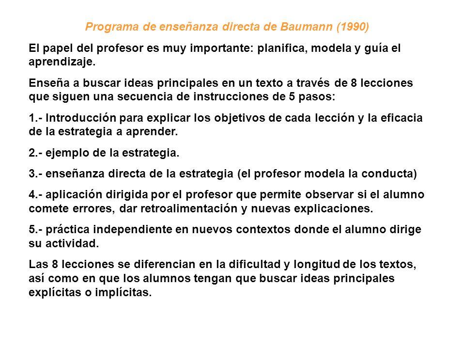 Programa de enseñanza directa de Baumann (1990)