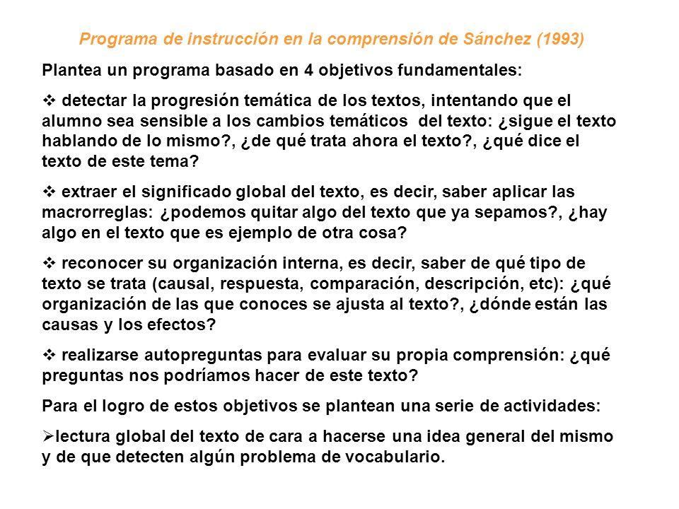 Programa de instrucción en la comprensión de Sánchez (1993)