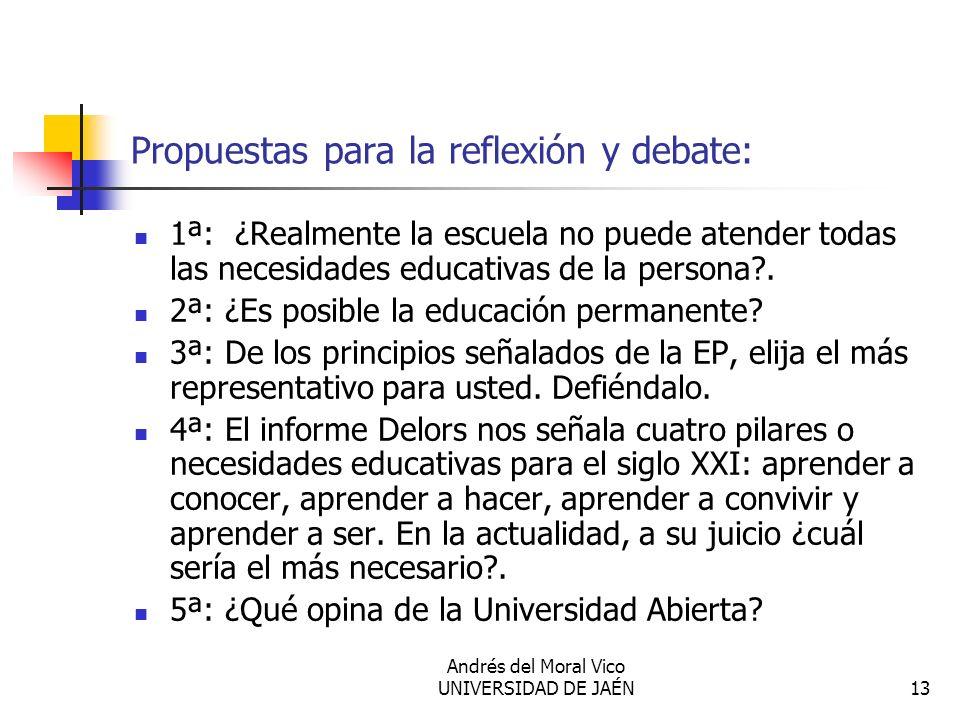 Propuestas para la reflexión y debate: