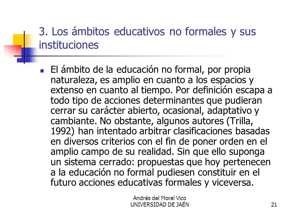 3. Los ámbitos educativos no formales y sus instituciones