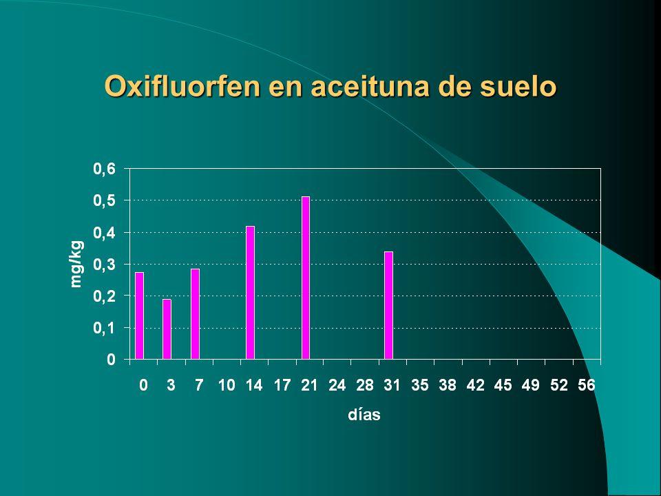 Oxifluorfen en aceituna de suelo
