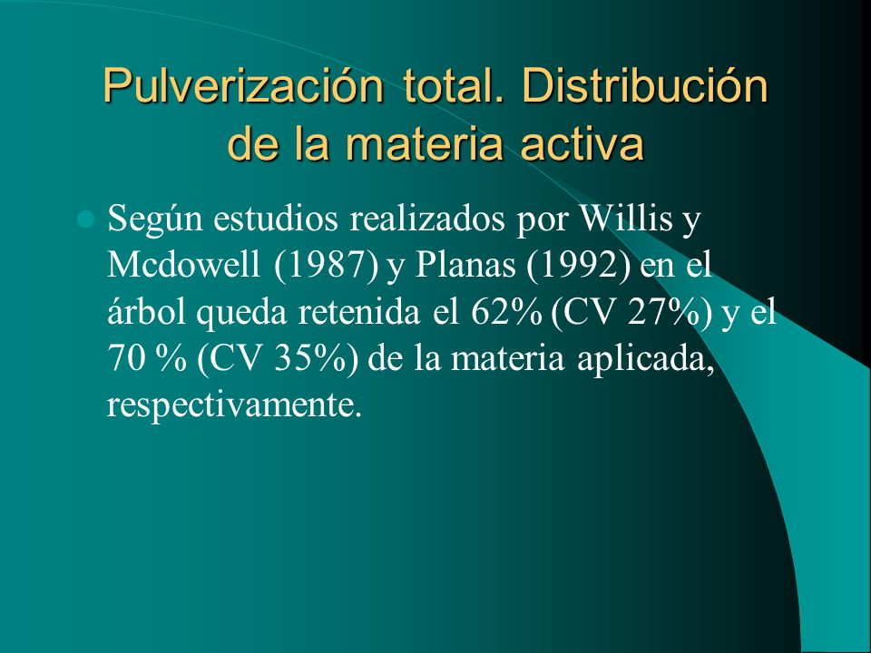 Pulverización total. Distribución de la materia activa