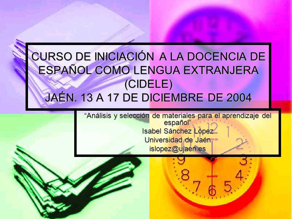 Análisis y selección de materiales para el aprendizaje del español