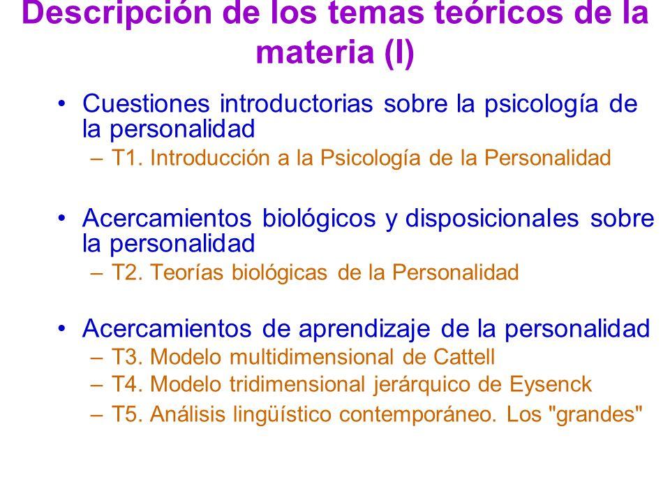 Descripción de los temas teóricos de la materia (I)